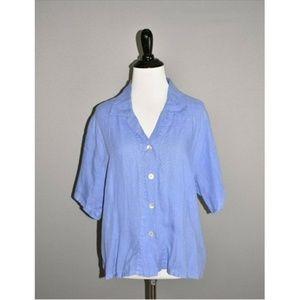 FLAX Blue Short Sleeve Linen Button Down Shirt